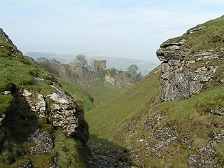 Peveril Castle from Cave Dale.