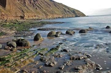 Filey Brigg from the beach.