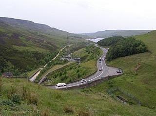 Longdendale looking east from Woodhead Tunnel.