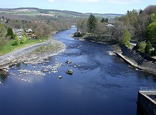 Looking downstream from Pitlochry's hydroelectric dam.