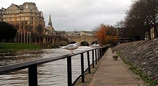 Rising river levels at Pulteney Bridge, Bath.