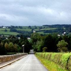 View back along Blagdon Lane towards Blagdon Church