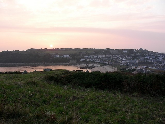 Looking west over Porthcressa to The Garrison.