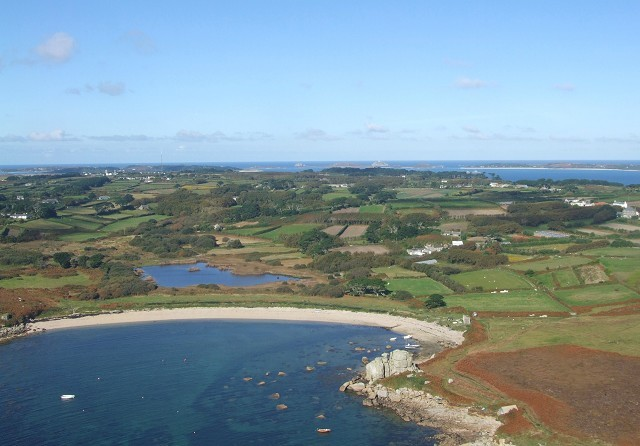 Porth Hellick from the air.