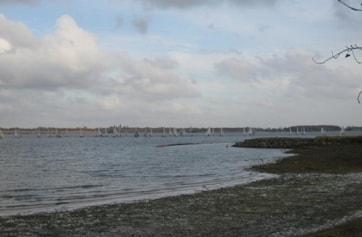 Sailing boats off Mander car park.