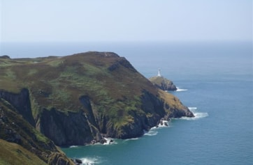 Holyhead Mountain and South Stack from path to North Stack.