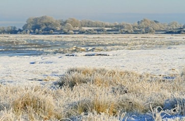 Frozen saltmarsh after several weeks of sub zero conditions 