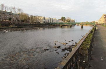 Ayr footbridge on River Ayr seaward from railway bridge where annual Iceland Gull is seen in gull flock.