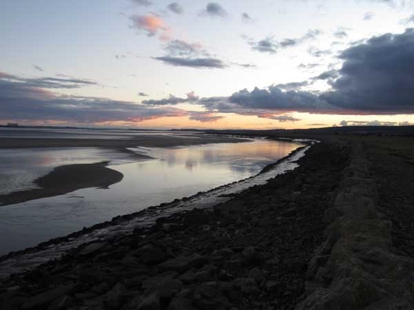 The River Severn south of Lydney harbour at dusk.
