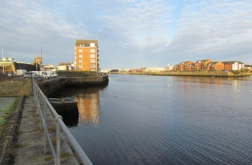 Ayr looking seaward from site of old harbour area.