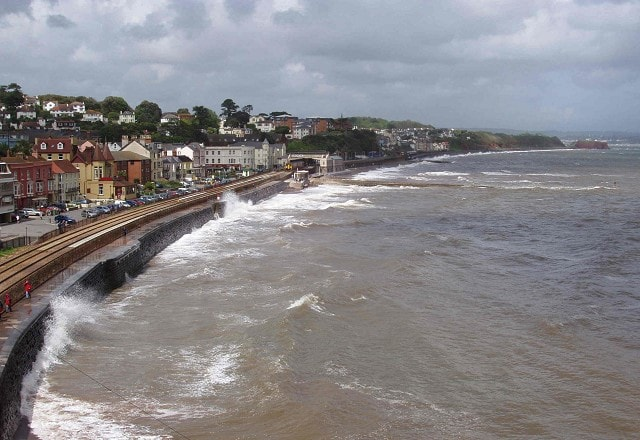 Dawlish from Lea Mount during May storm which brough good numbers of Storm Petrels close to the southwest coasts