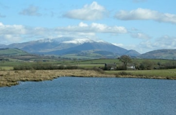 Zooming in on Skiddaw from the west side of the lake.