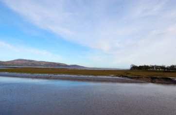 View from Wigtown Nature Reserve at high tide, towards part of Baldoon Sands.