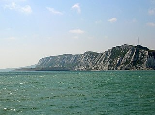 The Hoe and Shakespeare Cliff seen from the sea.