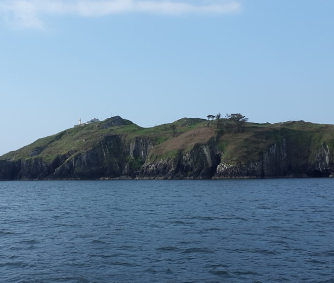 Lighthouse at north-east point of island from Baltimore Harbour.