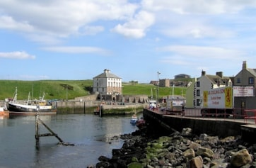 Eyemouth harbour entrance.