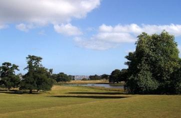 Powderham Park and Lake, Exe Estuary and Exmouth from Powderham Castle