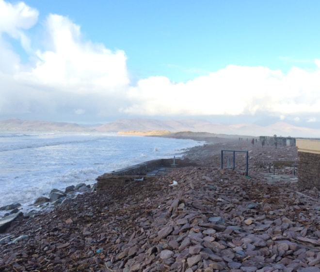 Rossbeigh was absolutely trashed by the storms of winter 2013/14. This image depicts the coastline which has been shifted westwards by a good few metres. The car park was overrun with large stones and boulders!