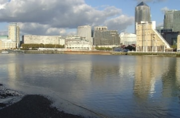 The River Thames at Rotherhithe looking north towards Canary Wharf.