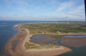 Aerial view of Crow Point and Braunton Burrows looking north.